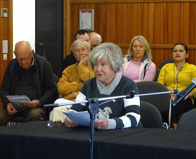 Wanaka Community Hub Trust chairwoman Yeverley McCarthy speaks at the public forum of the Wanaka...