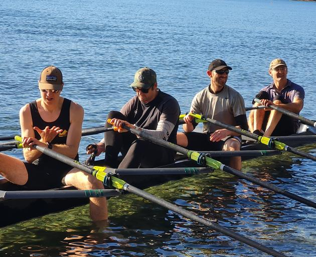 Wanaka Masters quad rowers (from left) Jaime Hutter, Kahn Cawte, Rob Taylor and Shane Gibson are...