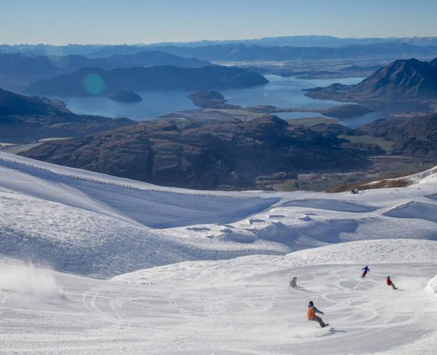 Treble Cone is famous for its spectacular panoramas over Lake Wanaka and the Southern Alps. Photo...