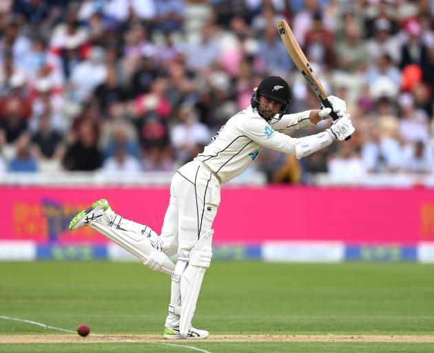 Devon Conway bats during the second test at Edgbaston last week.