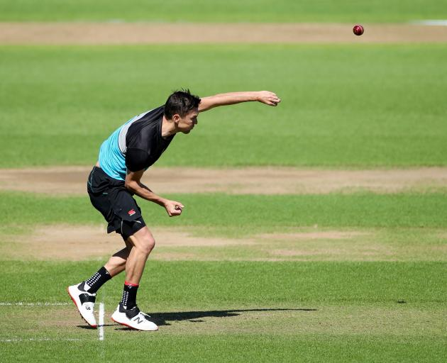 Back New Zealand paceman Trent Boult bowls during practice at Edgbaston, in Birmingham, yesterday...