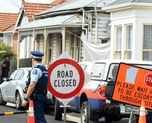 Police at the scene last week. Photo ODT