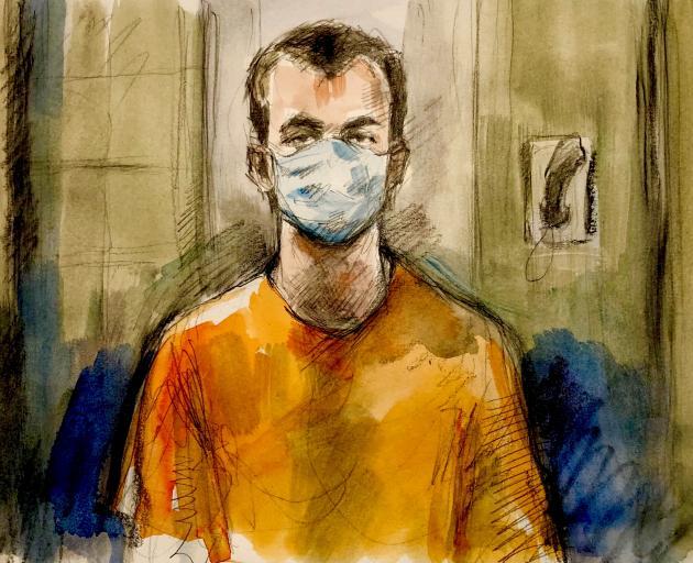 A courtroom sketch on Nathaniel Veltman. Image: Pam Davies via Reuters