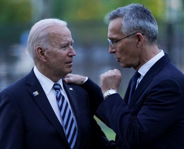 US President Joe Biden and NATO Secretary-General Jens Stoltenberg in Brussels. Photo: Reuters
