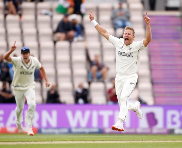 Neil Wagner celebrates taking the wicket of India's Shubman Gill Action Images via Reuters