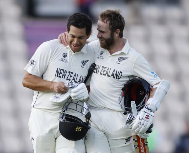 New Zealand's Kane Williamson and Ross Taylor celebrate after winning the ICC World Test...