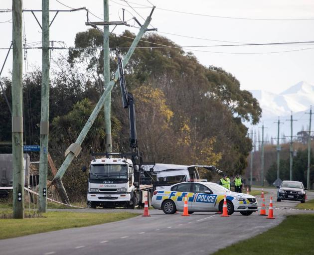 Four people died yesterday morning in Ashburton after a crash between a van and a truck. Photo: NZ Herald