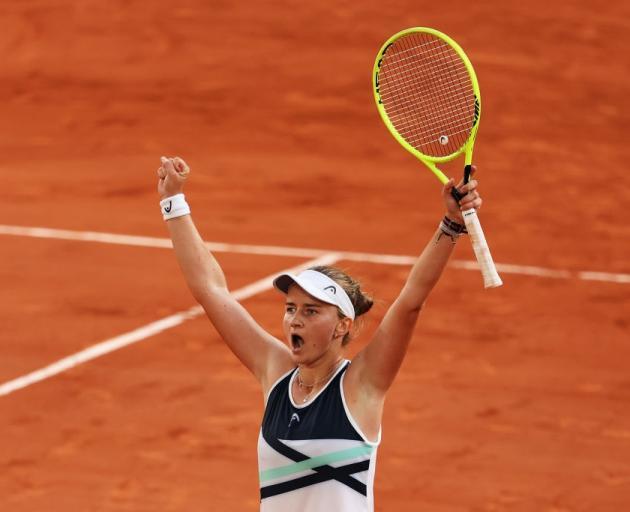 Barbora Krejcikova celebrates her win overnight at Roland Garros. Photo: Getty Images