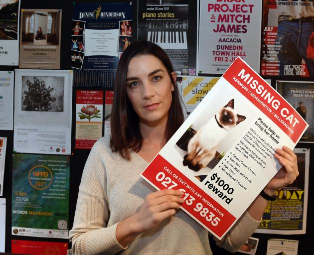 Holding one of the many posters she had made to help find her missing cat is Dunedin woman...