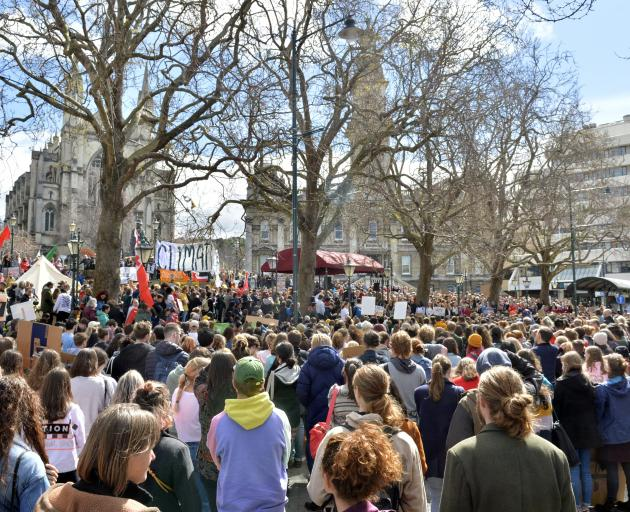Thousands attend a School Strike 4 Climate rally in the Octagon in 2019. GERARD O'BRIEN