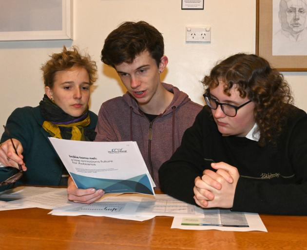Climate activists (from left) Jana Al Thea, Liam Scaife and Pepa Cloughley (all 16), of Dunedin,...