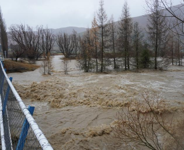 The Orari River flooded the driveway bridge that leads to Blue Mountain Station's homestead....