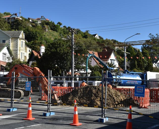 A digger works in Forbury Rd as part of a programme which has partially closed a busy St Clair...