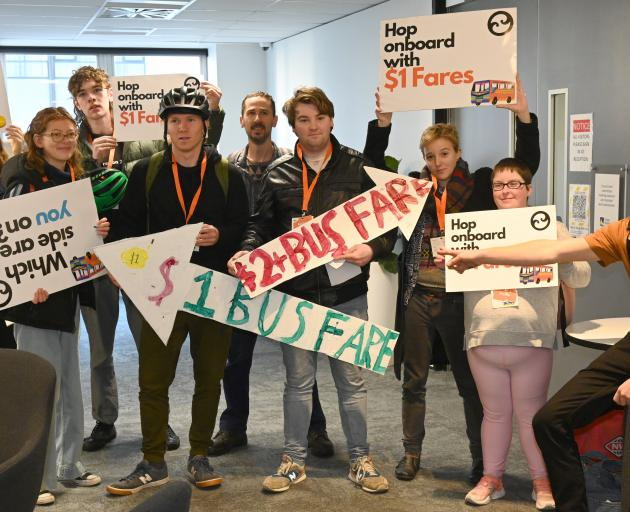 Members of Generation Zero protest outside a joint Otago Southland Regional Land Transport...