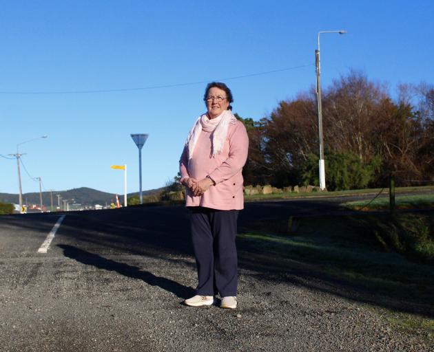 Riverton/Aparima resident Leah Boniface on the section of road she's been fighting to have sealed...