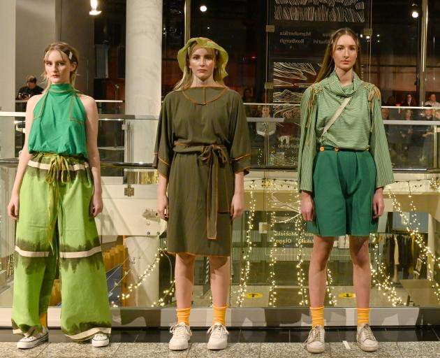 Models wear clothes from Emerging designer finalist Lorna Ryan, Otago Polytechnic, at the iD...
