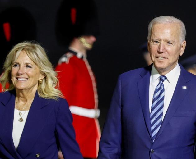 US President Joe Biden and first lady Jill Biden arrive at Cornwall Airport. Photo: Reuters
