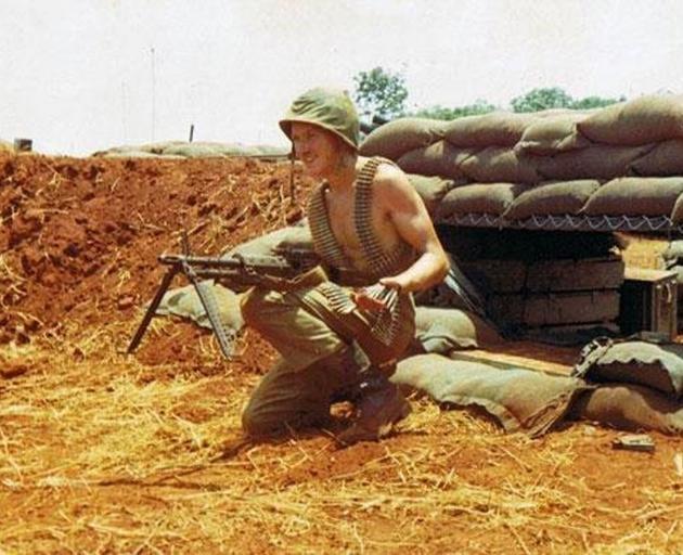 Then gunner Ian Beker with an M60 machinegun. Photo: Supplied