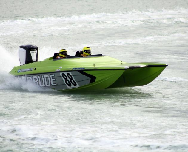 Otaki's Tim Fellows and navigator Kevin Ireland compete in Oamaru Harbour on Saturday. PHOTO:...