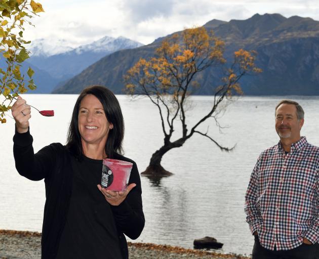 Anna Howard, of Pure New Zealand Ice Cream, with Brian Thomas