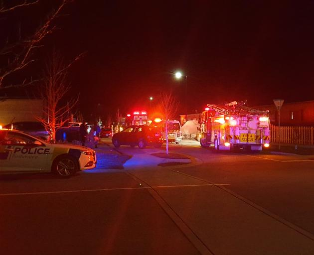 Emergency services at the scene in Lake Hayes Estate this evening. Photo: Supplied