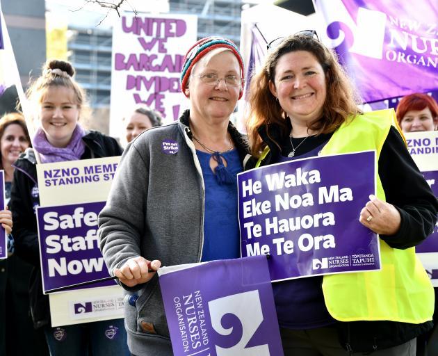 Among those striking in Invercargill were registered nurse Georgina Hilston (left) and New...