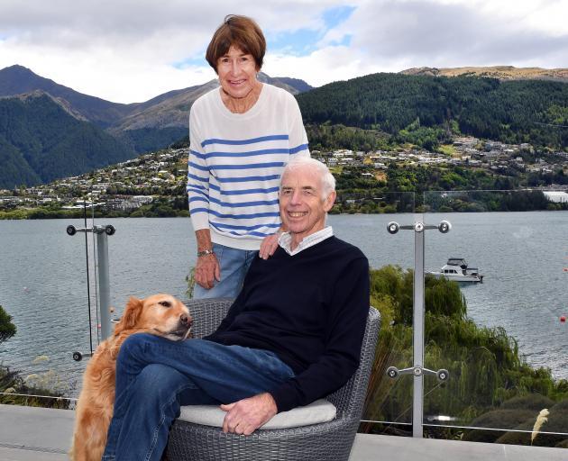 Sir Eion Edgar, Jan, Lady Edgar and their dog, Poppy, at their Kelvin Heights home in Queenstown...