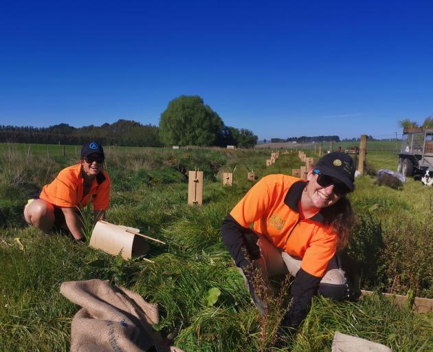 Habitat Restorations Aotearoa's team leader Jen Cook (left) and restoration ranger Nicole Bezemer...