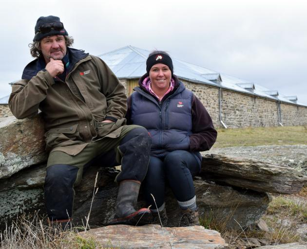 Jamie and Sheree Tisdall relax outside Cottesbrook Woolshed in Middlemarch. PHOTO: SHAWN MCAVINUE