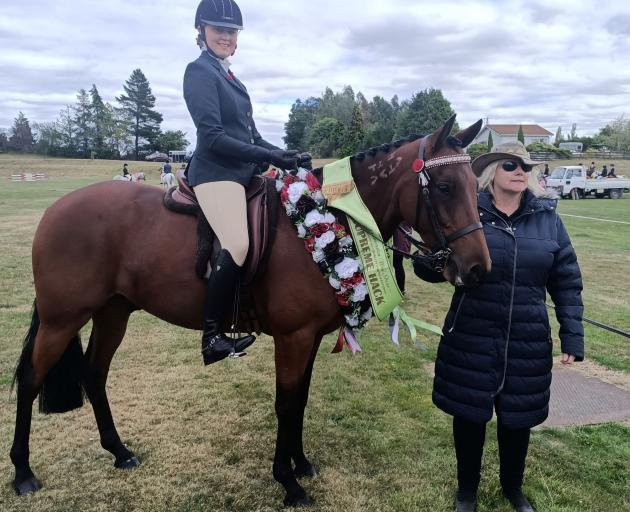 New Zealand Pony Club Coach of the Year Lisa Fridd with Ashleigh Cameron (16) of Maniototo Pony...