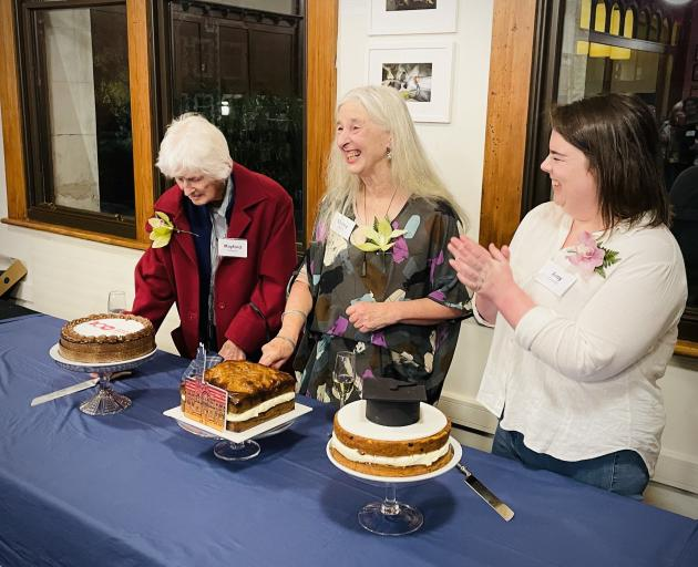 Graduate Women Otago members (from left) past president Mayford Dawson, current president Shirley...