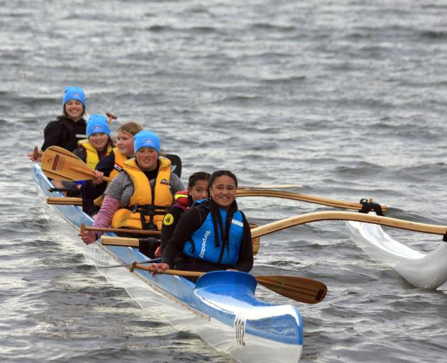 .The Nui Taniwha team from Dunedin's Fire in Ice waka ama club took first place in the Junior...