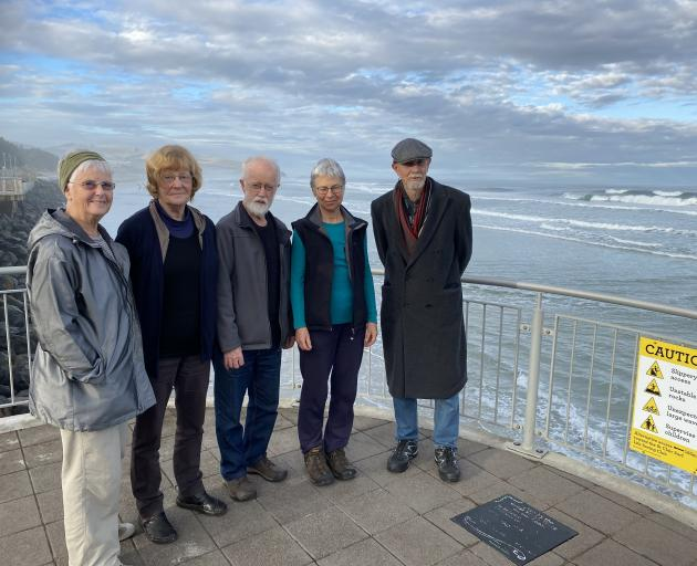 Members of the Seniors' Climate Action Network (from left) Donna Peacock, Polly Mason, Neil James...