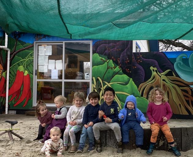 Sawyers Bay Playcentre children (from left) Layla Ellison (2), Evie Campbell (18 months), Juniper...