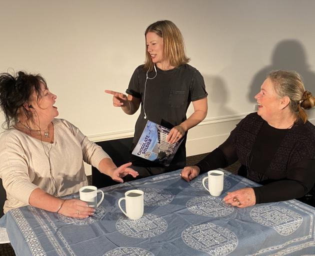 Dunedin actors (from left) Clare Adams, Jodie Bate, and Cheryl Amos rehearse a scene from...