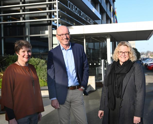 Otago Polytechnic chief executive Dr Megan Gibbons (left) and Te Pukenga deputy chief executives...