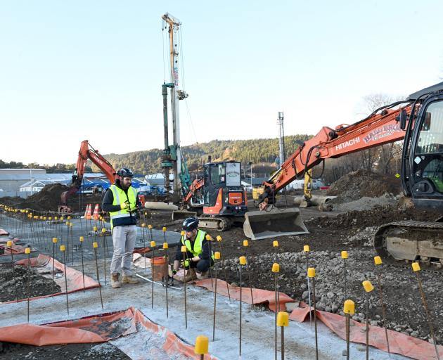 Southbase Construction project manager Chad Robinson (left) and site engineer George Bushell,...