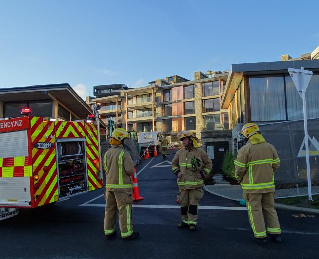 A Wanaka Fire and Emergency volunteer crew were called to the multi-million dollar apartment complex at about 4pm. Photo: Kerrie Waterworth