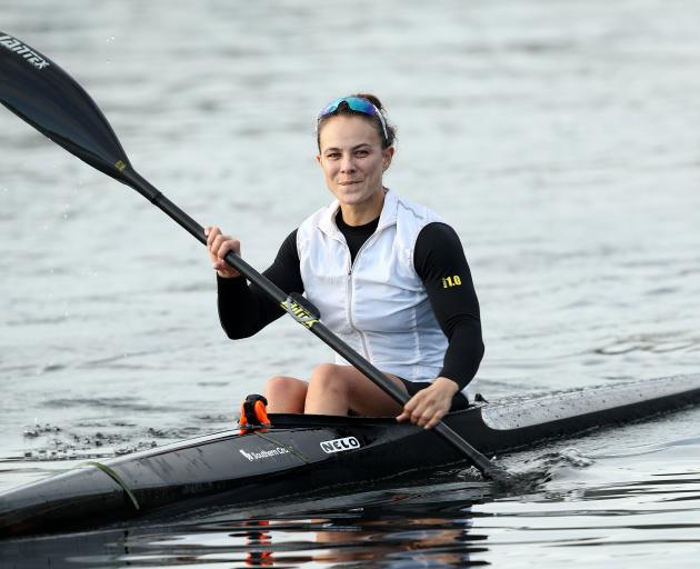 Two-time gold medallist Lisa Carrington trains on Lake Pupuke in Auckland last month on the day...