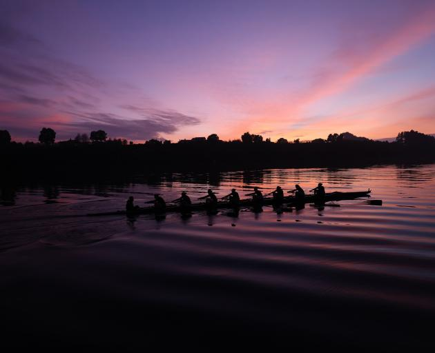 The New Zealand women's eight makes an early start on Lake Karapiro last month on the day they...