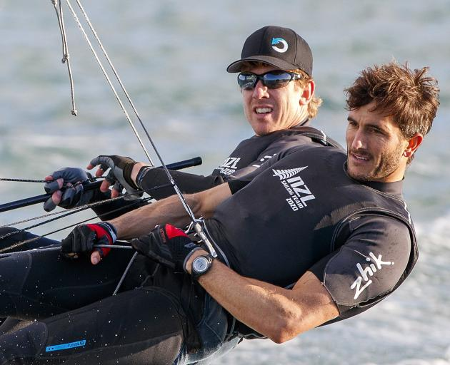 Rio Olympic gold medallists Peter Burling and Blair Tuke run their 49er through its paces on the...