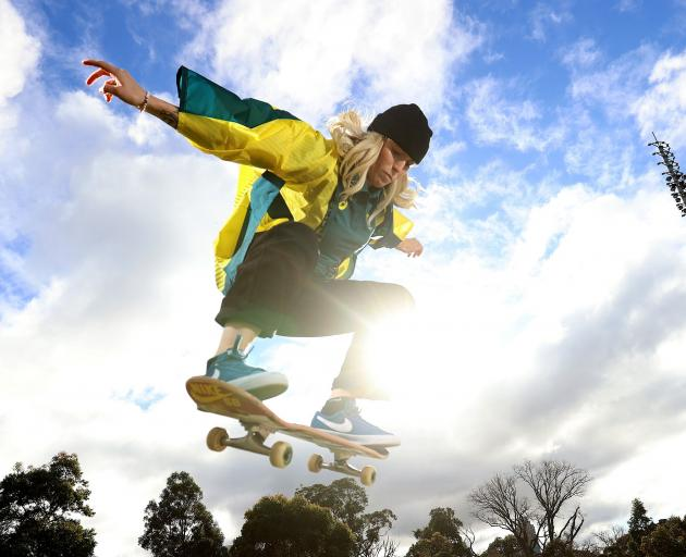 Australian skateboarder Hayley Wilson gets some practice for the Tokyo Olympics. PHOTO: GETTY IMAGES