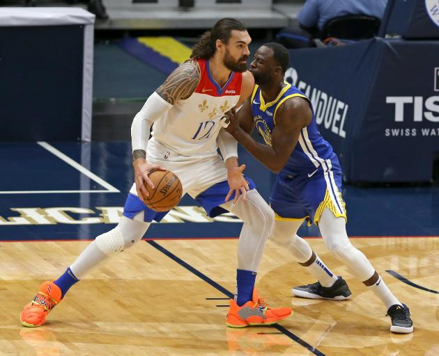 New Orleans Pelicans centre Steven Adams, now traded to the Memphis Grizzlies, takes on Golden...
