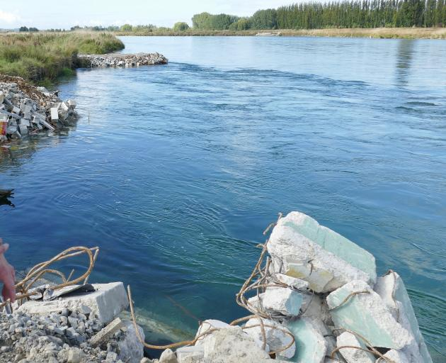 Demolition rubble dumped in the Clutha River earlier this year. PHOTO: RICHARD DAVISON