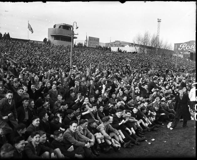 Crowds crammed into Carisbrook for the 1956 test. PHOTO: EVENING STAR FILES
