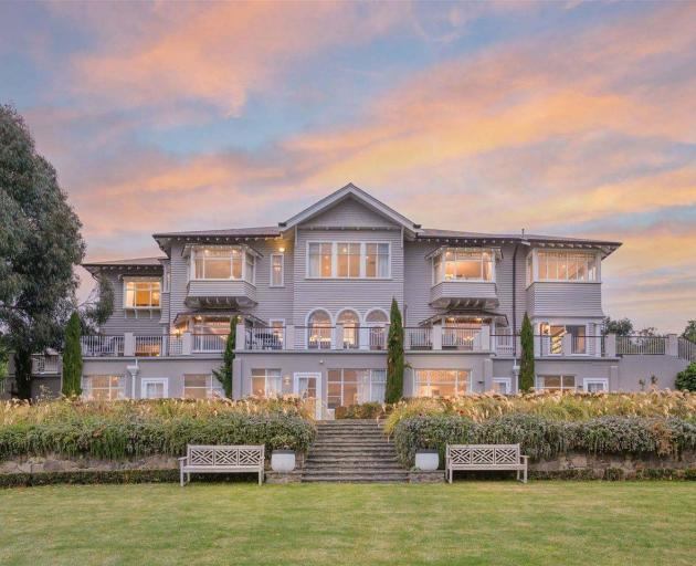 Hackthorne Gardens has gone on sale in Christchurch with sweeping views, 11 bedrooms and bathrooms and a 'colourful' history. Photo / Supplied