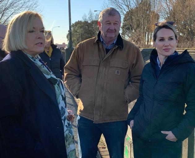 National Party leader Judith Collins (from left), Ashburton Mayor Neil Brown and Selwyn MP Nicola...