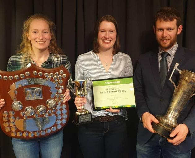 Christchurch City Young Farmers' Club members Alice Partridge (left), Rachel Stewart and Liam...