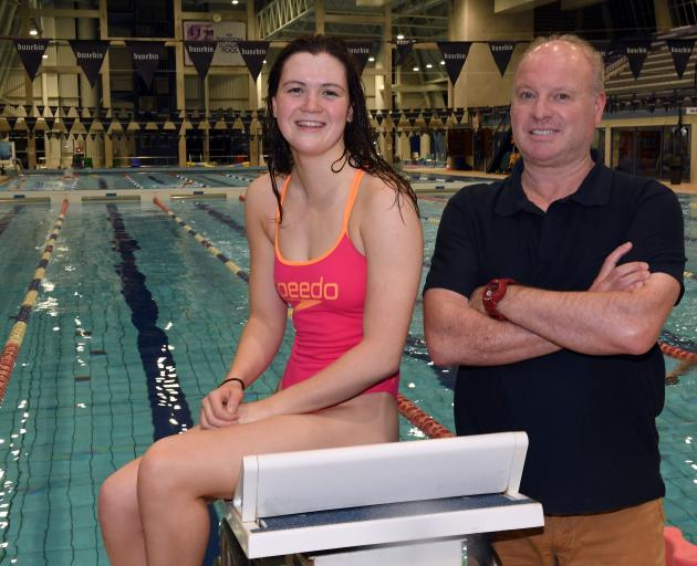 Erika Fairweather and coach Lars Humer during a training session at Moana Pool in Dunedin last...