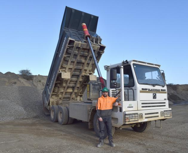 Blackhead Quarries quarry operator Gene Mace has a rest with the XCMG electric mining dump truck...